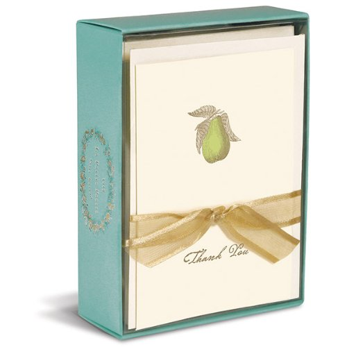 """Graphique - Perfect Pear Boxed Thank You Notes, 3.25 x 4.75"""", Cream, 10 note cards and envelopes."""