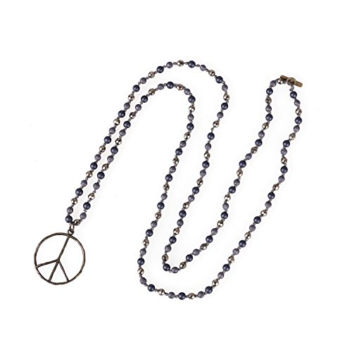 KELITCH Turquoise Shell Agate Mix Beaded Strands Necklace Handmade New Peace Sign Large Pendant Wooden Beads Chain Necklace (Gray)