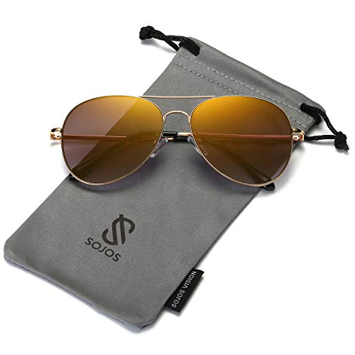 SOJOS Classic Aviator Mirrored Flat Lens Sunglasses Metal Frame with Spring Hinges SJ1030 with Gold Frame/Brown Mirrored ()