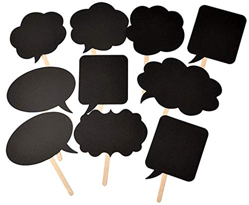 Photo Booth Props Kit,Writable Black Paper Card Board Photographing Props for Wedding Birthday Prom Party Favor(10pcs with Different Shapes)]()