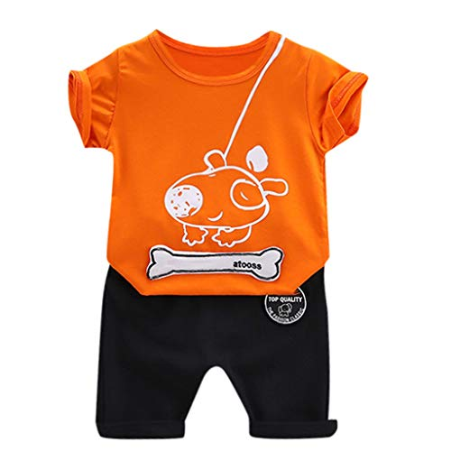 TOPBUGGER Toddler Baby Boys Girl Summer Shorts Clothing Sets Cute Short Sleeve Tee Orange Boys 14' Solid Clip