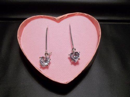 - Avon Wire Drop Earrings in Heart Box Clear