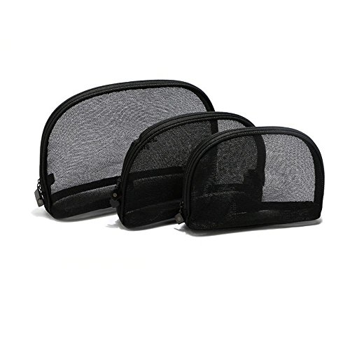 Elephant Xu Transparent Sundry Bag 3 Piece Assorted Size Cosmetics See Through Make Up Bag/Organizer, Black Mesh