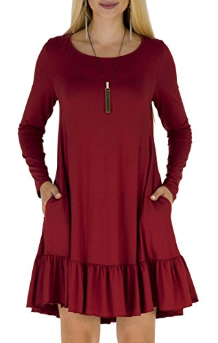 Women's Autumn Winter Shift Casual Loose Flounce Mini Dress Wine Red M (Ruffle Bottom Tunic)