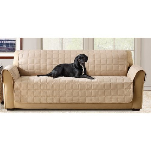 70 X 37 Inch Taupe Solid Color Loveseat Cover, Beige Furniture Protector From Pets Children Relaxed Fit T-cushion Waterproof Quilted Textured Elegant, Polyester