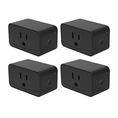meross Smart WiFi Plug Outlet Switches Compatible with Alexa and Google Assistant, App Control, Timer Function, 16A, No Hub Needed, FCC & ETL Certified, Black 4 Pack