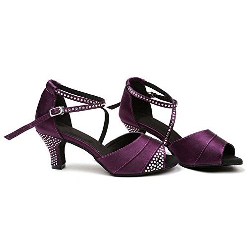 donne latino danza sandali raso diamante pelle tango salsa samba tango sala da ballo aprire il piede morbido scamosciato suole fibbia tacchi alti viola scarpe . c . 42