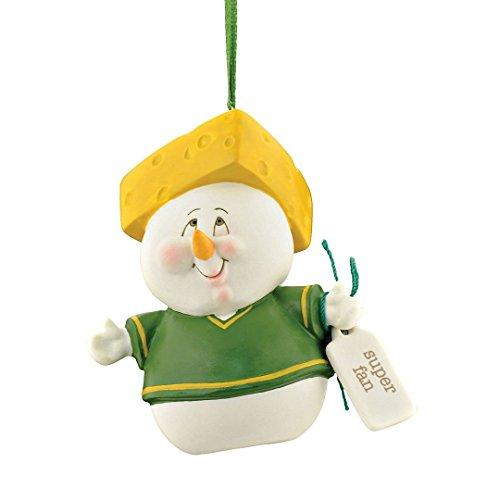 "Department 56 Snowpinions ""Super Fan Cheesehead"" Porcelain Snowman Hanging Christmas Ornament, - Snowman Cheese"