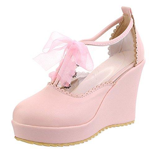 TAOFFEN Mujer Moda Tacon de Cuna Alto Transparente Gasa Zapatos Verano Plataforma Rosado