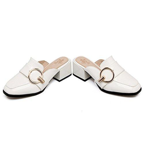 À De Mode Fermé Chaussures Taoffen Femmes La Mules Blanches Bout q4wvxwn5IO