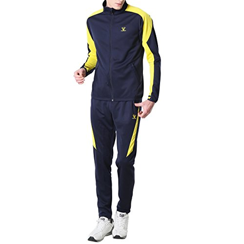 Fuerza Mens Premium Material Knit Jacket & Pants Tracksuit (Small, Navy/Yellow)