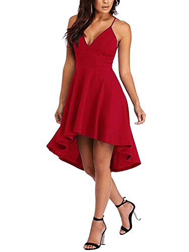 YOINS Women Dress Sexy V-Neck Lace Zipper Back Sleeveless Cocktail Party Dress Red (Lace Cut Out Dress)