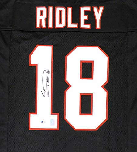 Atlanta Falcons Calvin Ridley Autographed Black Jersey Beckett BAS Stock #146676 Autographed Atlanta Falcons Jersey Numbers