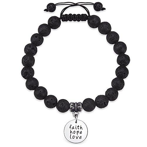Jeka Faith Hope Love Inspirational Bracelet Engraved Message Charm-8mm Healing Energy Jewelry for Women Girls Black Lava Rock Diffuser Beads-Positive Motivation Mantra Words Gift