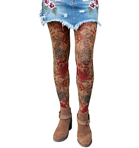 Wild Rose Ladies MUMS Tattoo Mesh Leggings, Tan, ()
