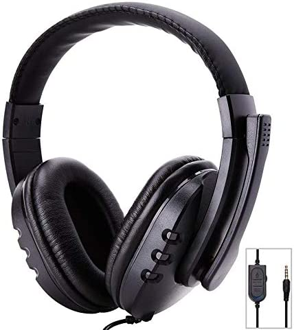 Hanging Neck High Sound Quality Headset Microphone Headphone GSUMMER Wired Gaming Headset with Microphone Black Suitable for Gaming//Office Heavy Bass