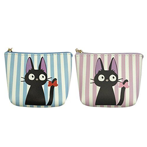 Wrapables Black Cat Coin Pouch with Key Holder (Set of 2), Light Blue/Lavender