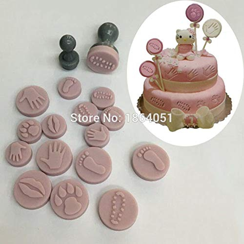 JPONLINE 10pcs diy sillicon Small cookie stamp set cake tools fondant decor mold biscuit cutters Printed Stamps moulds