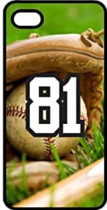Baseball Sports Fan Player Number 81 Black Plastic Decorative iphone 5s Case