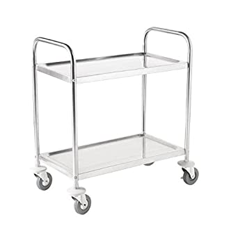 Amazon.com: Pequeño Acero Inoxidable Utility Cart 2 estante ...