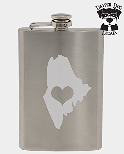 Maine Pride I Heart My State Art Personalized Custom Hand Etched Stainless Steel 8 oz Flask Great Gift ()