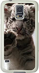 Galaxy S5 Case, Galaxy S5 Cases - Compatible With Samsung Galaxy S5 SV i9600 - Samsung Galaxy S5 Case Durable Protective Case for White Cover White Baby Tiger