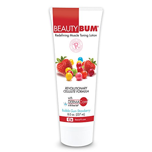 BeautyFit BeautyBum Anti Cellulite skin tightening cream for Women (Bubble Gum (with Dermacore) 8 oz)