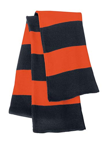 Rugby Stiped Knit Scarf, Color: Navy/ Orange, Size: One Size