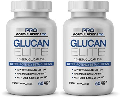 Glucan Elite - 85% Beta 1,3D Glucan 500mg - 60 vcaps - 85% Minimum Active 1,3 Linkage Ultra-Potency Beta Glucan - Highest Bioavailability with BGF-Immune