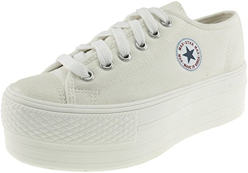 Maxstar Oxford Boat Canvas Platform Low Top Sneakers Shoes White 9 B(M) US Womens