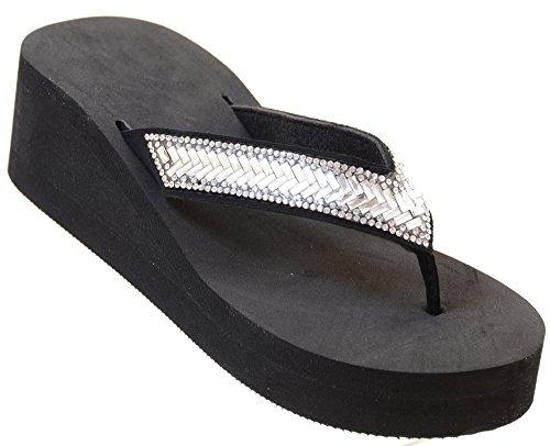 Bling Rhinestone Diamond Wedge Flip Flop Slide Platform Beach Sandals-9 (Purple Leopard Print Thigh Highs)