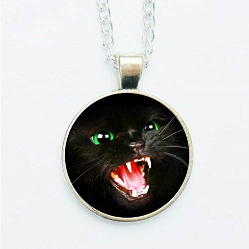Angry Cat Pendant Necklace or Earrings Snarling Black Cats Gothic Dramatic Goth Halloween Scary Horror Rabid Chilling Spooky - Cat Dramatic Eye