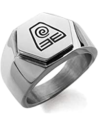 Stainless Steel Avatar Earth Element Hexagon Crest Flat Top Biker Style Polished Ring