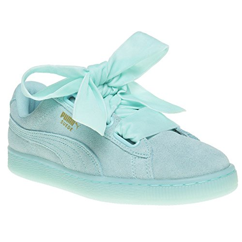 Blue Suede Trainers (Puma Suede Heart Reset Aruba Womens Trainers Teal Blue - 5 UK)