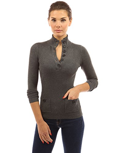Womens Turtleneck Ribbed - PattyBoutik Women's V Neck Button Ribbed Sweater (Dark Heather Gray M)