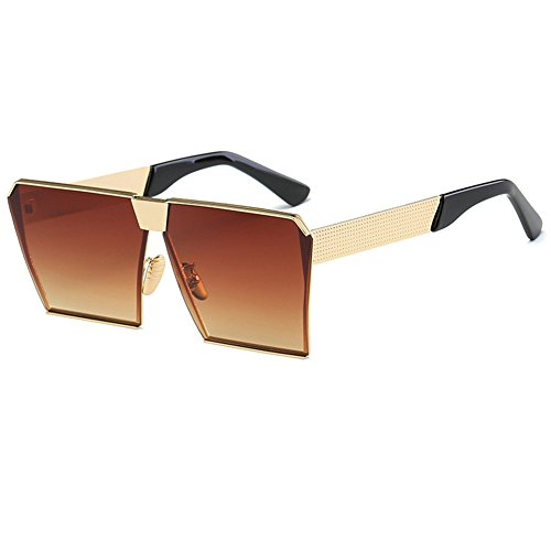 Gold Lens Oversize Sunglasses Street Men Special Sun Eyewear Frame Unisex Fashion Protection Glasses Square tea UV Luxury Sunglasses Women CUBCRWnZ