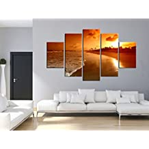 Hot Sells 5 panels sunset coast Wall Art Picture Canvas Print Modern art landscape Oil Painting for Home Decoration No Frame