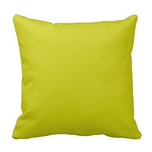 Chartreuse Green Decorative Cotton Square Solid Color Pillowcase Cushion Cover Pillow Cover With Hidden Zipper Closure - Chartreuse Body