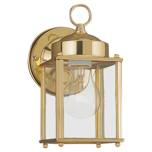Sea Gull Lighting 8592-02 New Castle One-Light Outdoor Wall Lantern With Clear Glass Panels, Polished Brass Finish