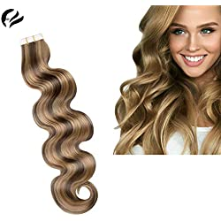 Shadowshair Hair Tape In Human Hair Extensions Silky Curly Skin Weft Human Remy Hair 18inch 40g 10pcs