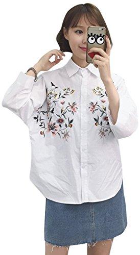 引き付けるリンク添加シャツ 刺繍 ブラウス レディース トップス 春 夏 花 刺繍 長袖 レディース トップス 白 ホワイト 女の子 刺繍シャツ 可愛い 花柄 ゆったり 春物 M/L 刺繍トップス