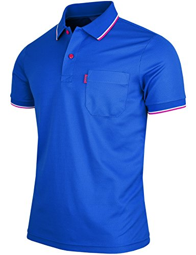 One Chest Pocket (BCPOLO Men's Polo Shirt 1 Chest Pocket Dri Fit Polo Shirt Short Sleeve Various Polo-Blue-XXL)