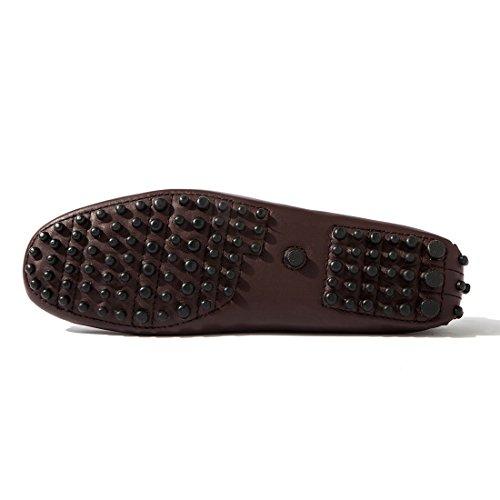 ... Opp Designer Skinn Kjøre Sko Klassiske Firkantede Tå Flats Loafers 2016  Samling Brun ...
