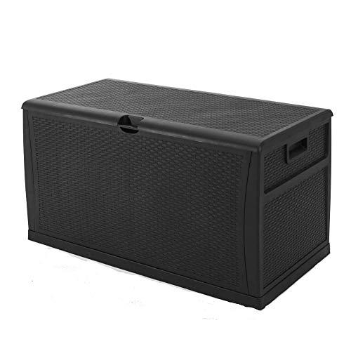 tdoor Wicker Storage Patio Furniture Imitation Rattan Container Cabinet 120-Gallon,Black ()