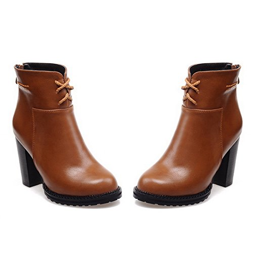 AmoonyFashion Womens Blend Materials Closed Round Toe High-Heels Boots Brown PGIqc6XF
