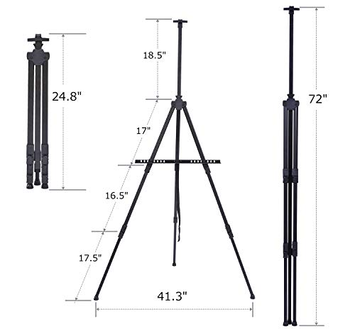Display Easel Stand, Ohuhu 24-Pack 72'' Aluminum Metal Tripod Field Easel with Bag for Table-Top/Floor, Black Art Easels W/Adjustable Height from 25-72'' for Poster, Paint Back to School by Ohuhu (Image #8)