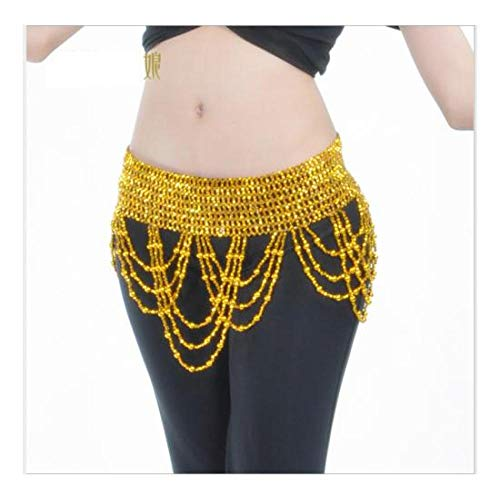 FidgetGear Waist Chain Belly Dance Costumes Accessories Beaded Hip Belt Chain Dancewear Gold from FidgetGear