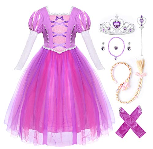 JerrisApparel Girls Birthday Party Costume Princess Rapunzel Dress Long Mesh Sleeves (4T, Purple with Accessories)