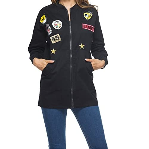 20e9c5bc8b8cc Women Oversize Army Green Long Bomber Jacket Zip Up Badge Patch Coat Plus  Size best
