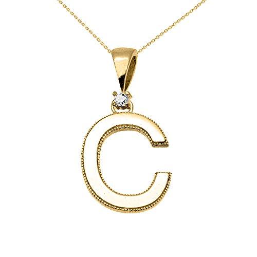 """Collier Femme Pendentif 14 Ct Or Jaune Poli Élevé Milgrain Solitaire Diamant """"C"""" Initiale (Livré avec une 45cm Chaîne)"""